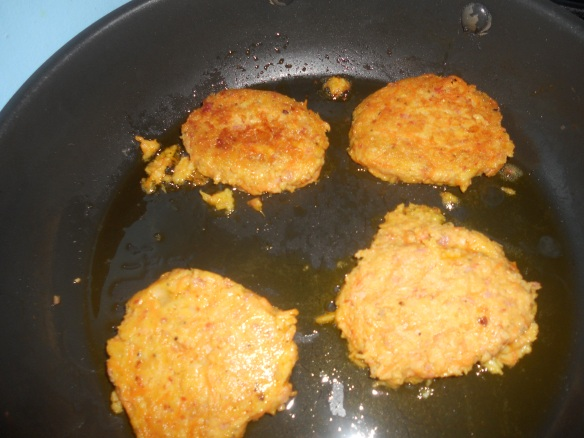 Chickpea and Chorizo Burgers cooking nicely